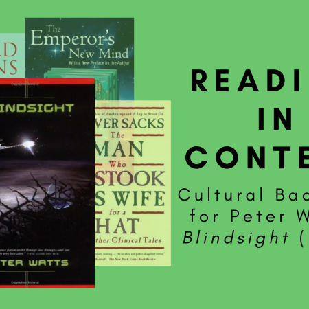 Cover of Blindsight by Peter Watts, with Richard Dawkins' The Extended Phenotype, Roger Penrose's The Emperor's New Mind, and Oliver Sacks' The Man Who Mistook His Wife for a Hat in the background, next to the title of the blog post.