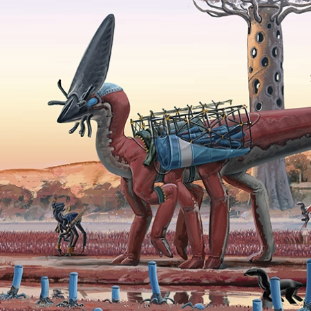 """This is the cover art for Clarkesworld's March 2021 issue: a fantastical setting in desert-red tones, with dinosaurs rigged up for some sort of construction labour. Alex Ries, """"Sunrise"""""""